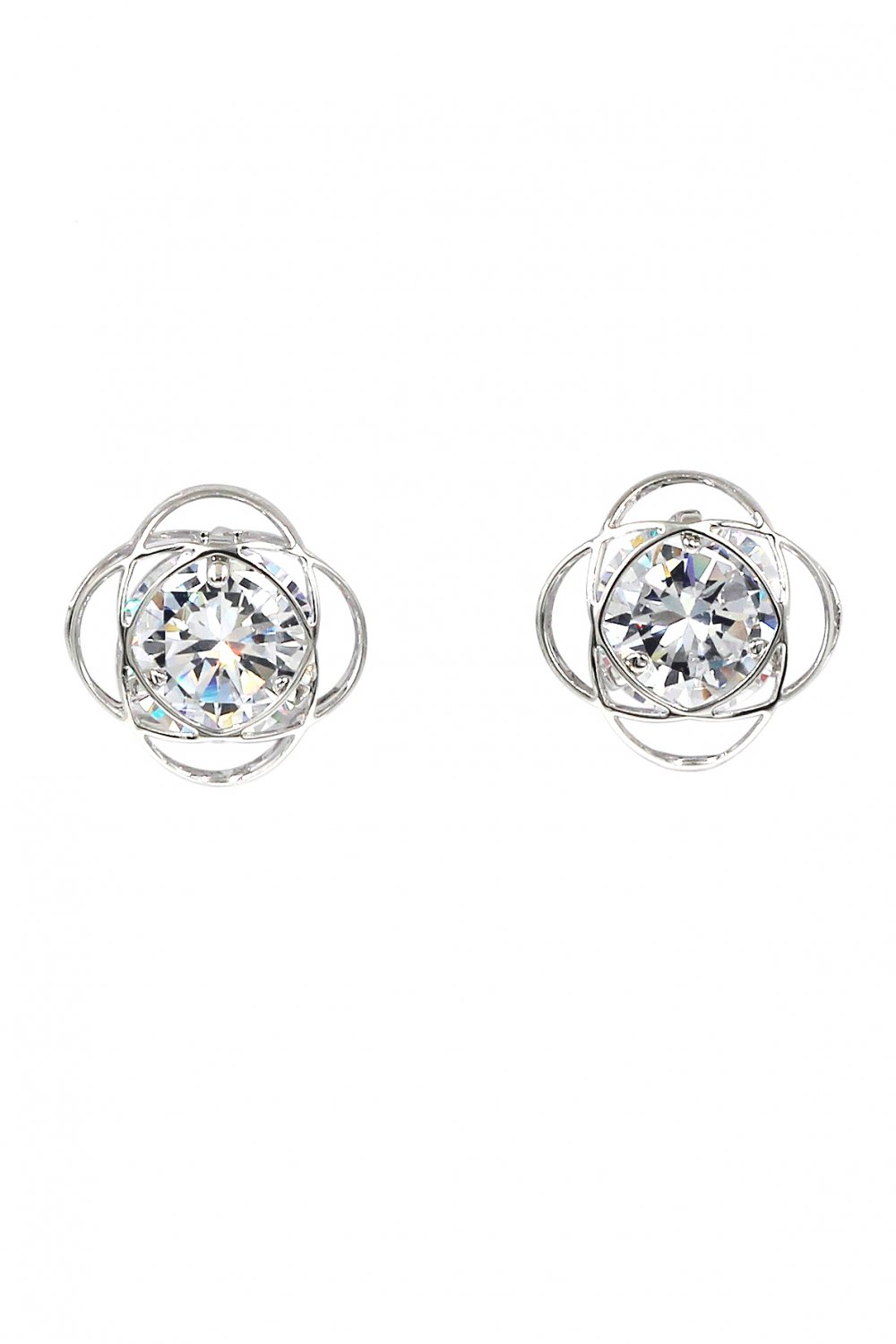Exquisite flower crystal silver earrings