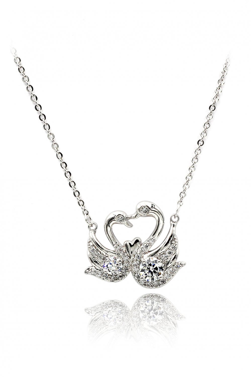 Swan love crystal silver necklace