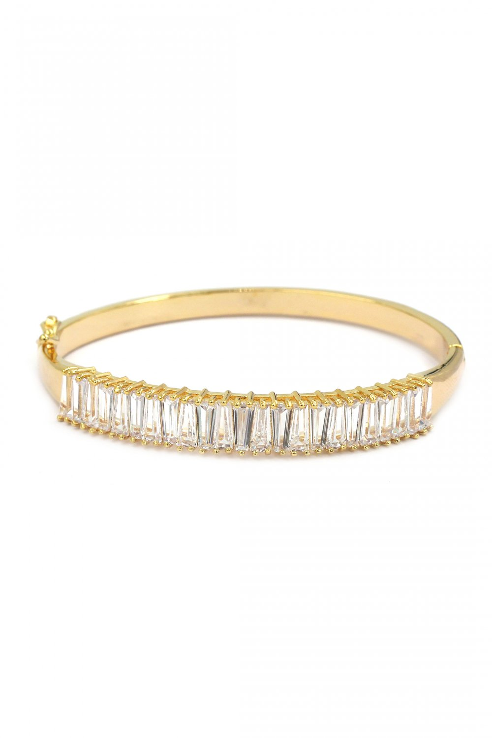 Noble crystal row gold bracelet
