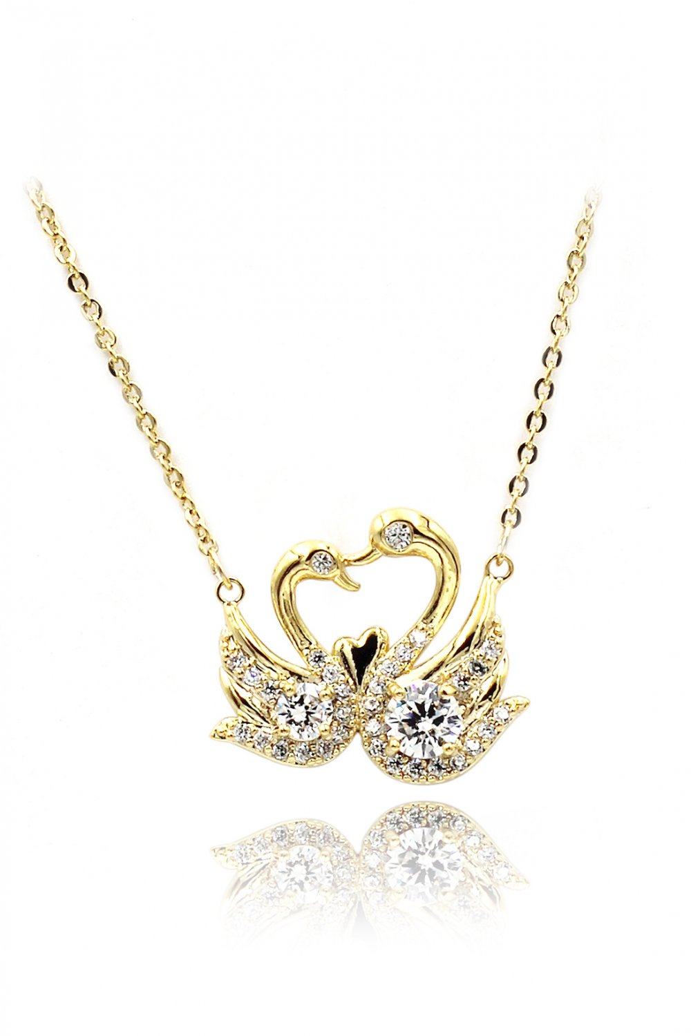 Swan love crystal gold necklace