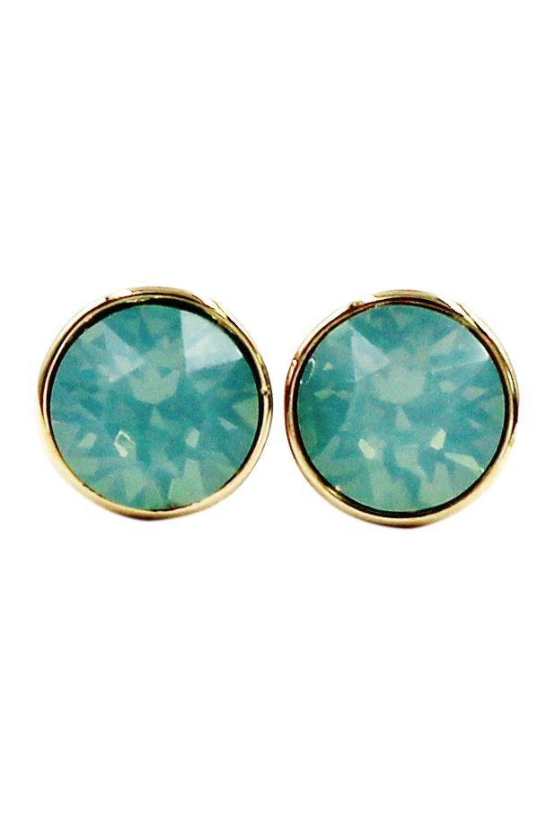 Simple green crystal earrings