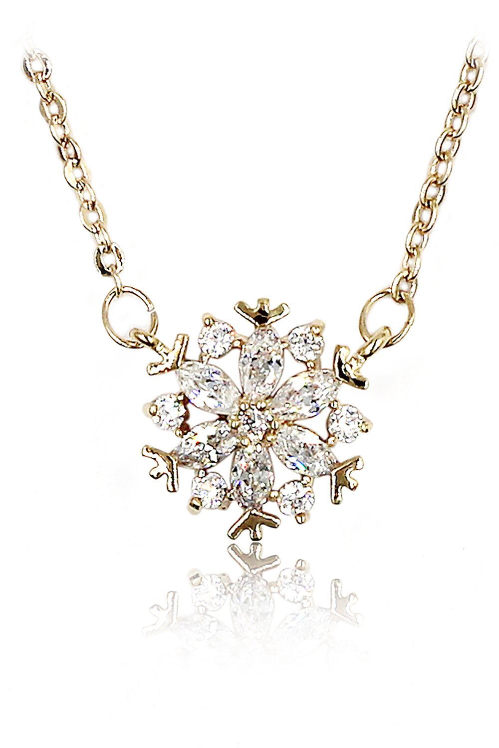 Mini snowflake crystal clavicle gold necklace