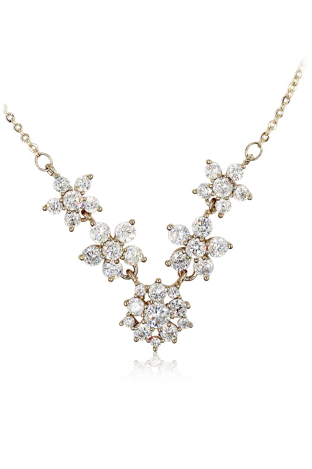 Mini crystal flowers clavicle gold necklace