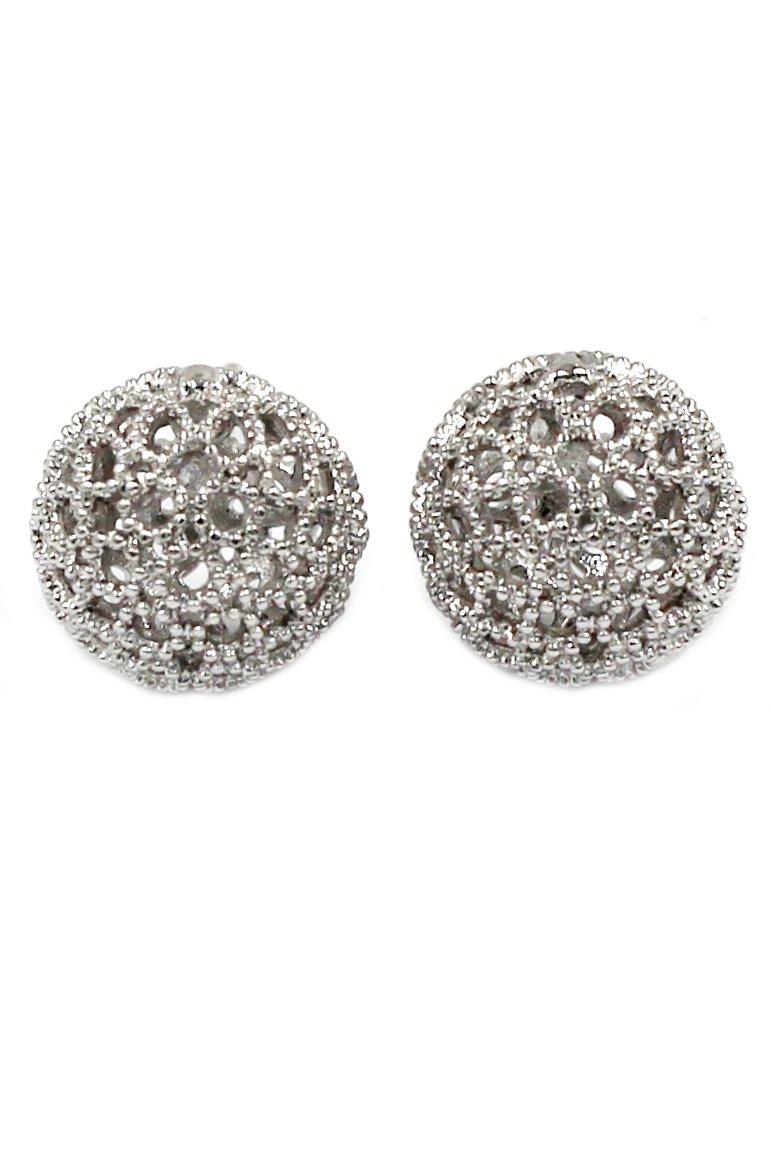Pierced ball silver earrings