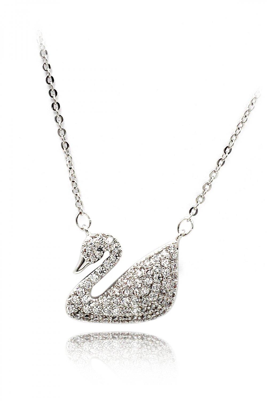 Single swan crystal necklace