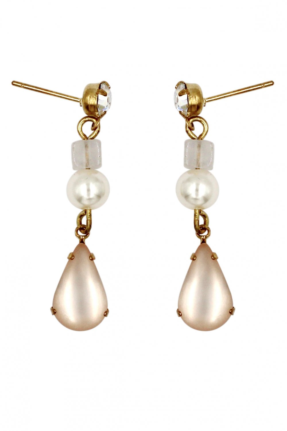 Fashion water pink drop pendant pearl earrings
