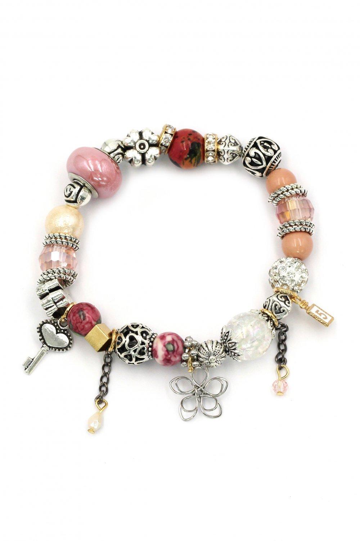 Colorful bead flower pink bracelet
