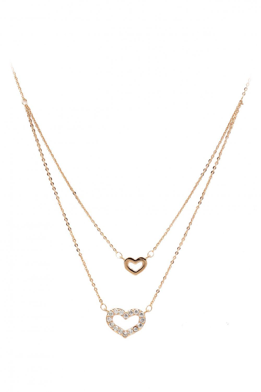 Duplexes mini heart crystal rose gold necklace