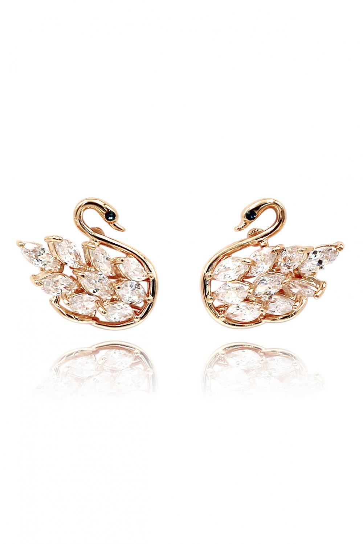 Inlaid crystal swan rose gold earrings