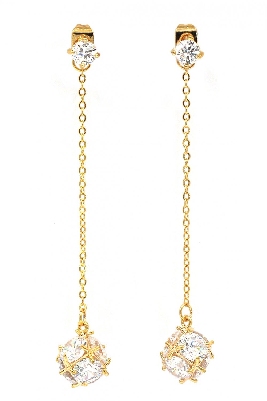Long section tassel crystal ball gold earrings