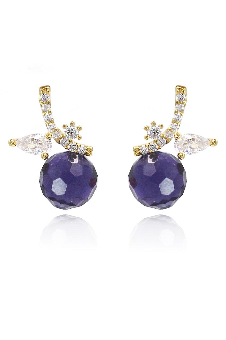 Cabinet purple crystal ball pendant earrings
