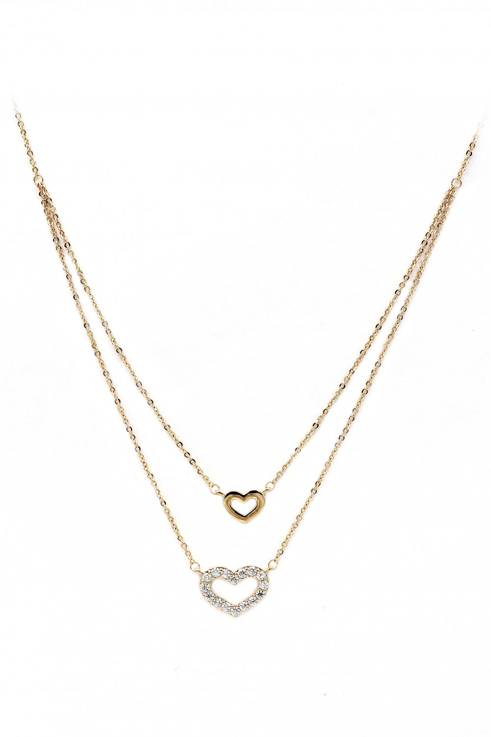 Duplexes mini heart crystal gold necklace