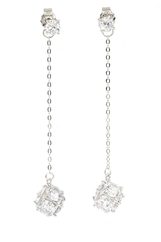 Long section tassel crystal ball silver earrings