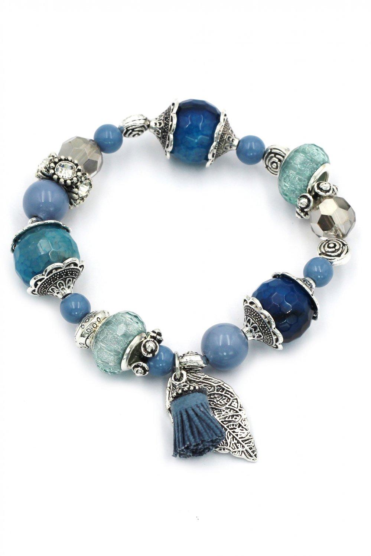 Summer ice bead blue bracelet