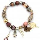 Colorful natural stone lollipop cat bracelet