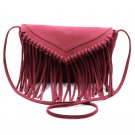 Fringed suede shoulder small red purse