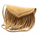 Fringed suede shoulder small brownish Yellow purse