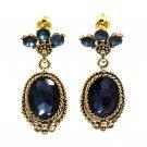 Classic style blue crystal pendant golden earrings