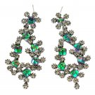 Sparkling green crystal silver earrings