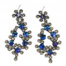 Sparkling blue crystal silver earrings