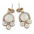 Lovely white crystal golden rim earrings