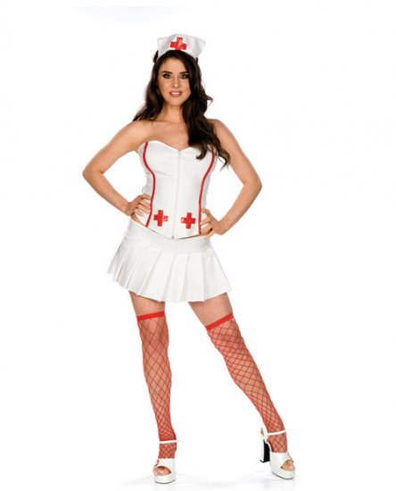 Rock a billy corset vinyl fetish gothic nurse costume s/m and m/l