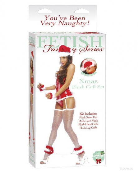 Fetish fur lined hand cuffs,ankle cuffs,santa hat and furry love mask