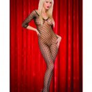 Fetish wear  Sexy black Fence net fish net long sleeved bodystocking