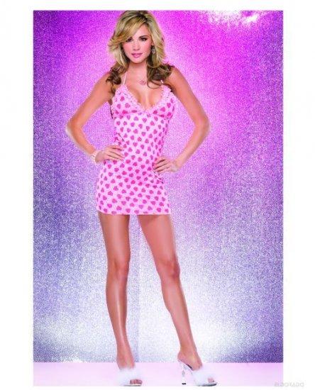 Sexy Halter dress in pink heart print