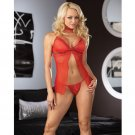 Open front mesh babydoll,thong,neck band or garter