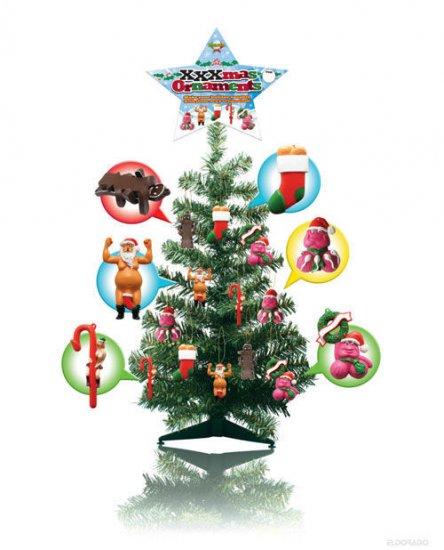 2 ft. tall xmas tree w/24 xxxmas ornaments