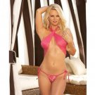 Aqua Flower Shaped Lace Pasties, Lined Swimsuit Tie Thong Bottom, Sheer Cover-Up Wrap Hot Pink M/L