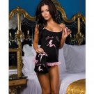 4 pc call of booty babydoll, thong, intimate toy, & bag black o/s
