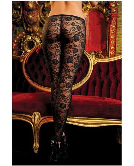 Stretch floral lace leggings w/elastic waistband black o/s