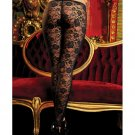 Stretch floral lace leggings w/elastic waistband black o/s