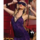 Printed lace microfiber halter chemise, eye mask & thong purple o/s