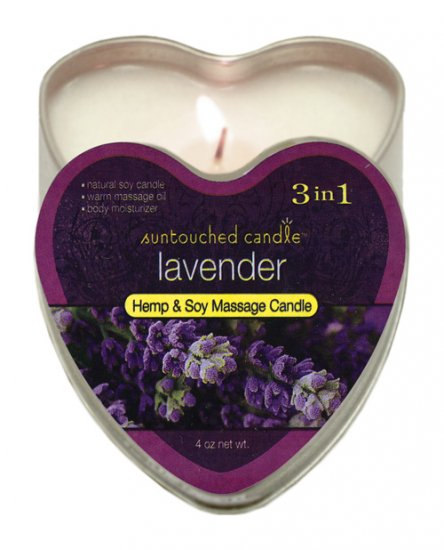 Suntouched hemp candle - 4 oz heart tin lavender