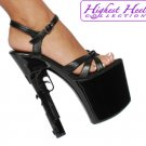 "7 1/2"" Platform With Gun Shaped Heel And Strappy Size 11"