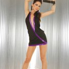 small queen purple and black deep v neck halter exotic dancer stripper  club wear mini skirt dress