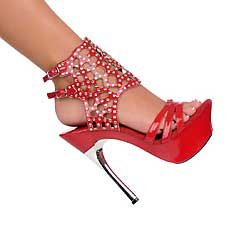 Red Austrian Crystal ankle bracelet silver metal heel platform shoe size 10