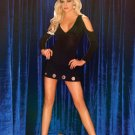 small thru queen sizes Black biker hard rock star open shoulder long sleeve v neck mini skirt dress