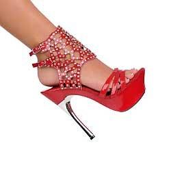 Red Austrian Crystal ankle bracelet silver metal heel platform shoes size 6