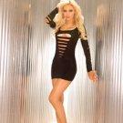 small, medium, large, extra large black biker hard rocker heavy metal  cut up long sleeve mini dress