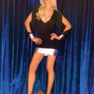black small thru large long sleeve mini dress slit sleeves silver metallic mini skirt wrist bands