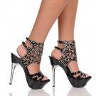 Black Austrian Crystal ankle bracelet silver metal heel platform shoes size 6