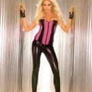 Black, stretchy, shiny, faux leather, pleather, leggings size medium