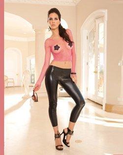 Black, stretchy, shiny, faux leather, pleather, leggings size large