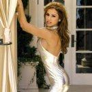 Silver metallic lycra lame' mini skirt club wear dress size small