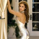 Silver metallic lycra lame' mini skirt club wear dress size medium