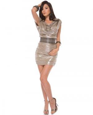 medium/large club wear off shoulder slate metallic lycra dress open back